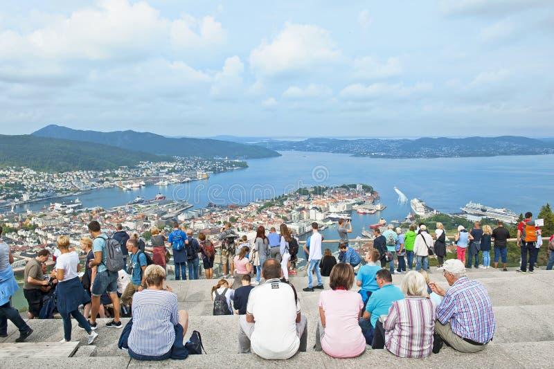 Beau panorama de Bergen vu du bâti Floyen image stock