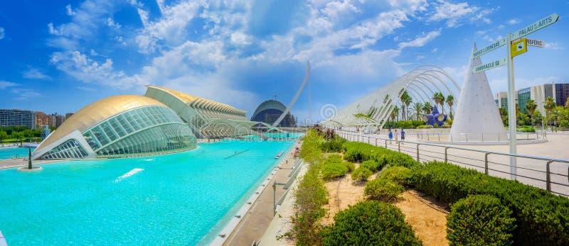 Beau panorama de la ville de la Science et de l'art à Valence images stock