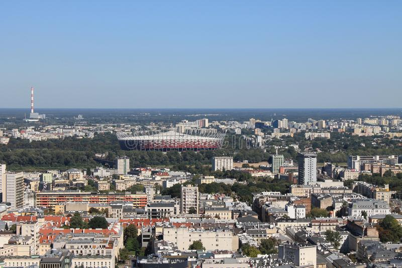 Beau panorama de stade Pologne de Varsovie photos libres de droits