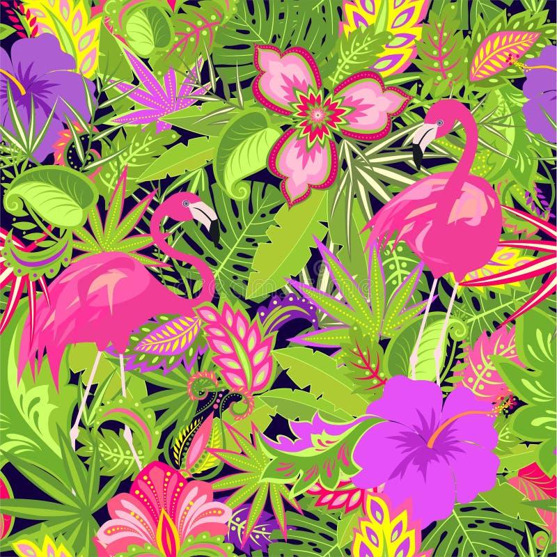 Beau papier peint hawaïen avec les fleurs, la ketmie et le lis, tropical exotiques et palmettes et flamants illustration de vecteur