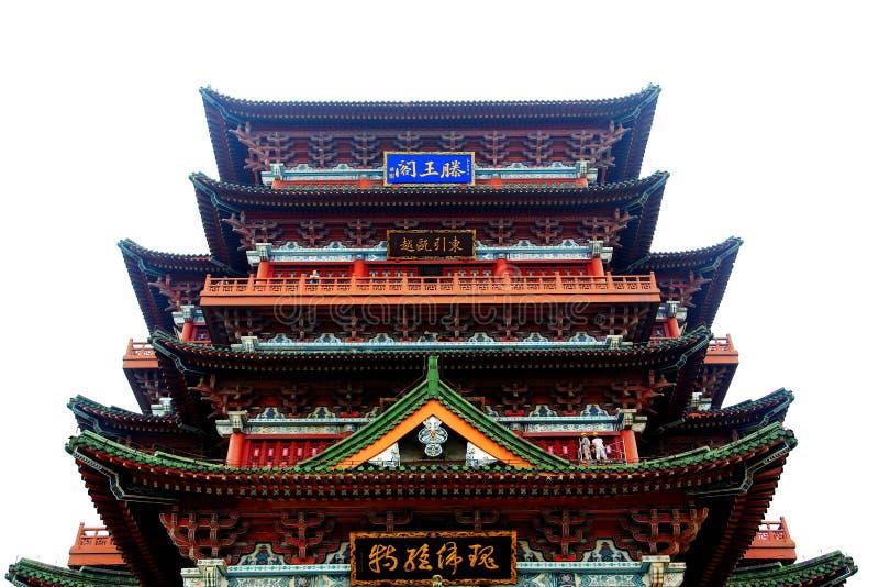 Beau pavillon de tengwang de Nan-Tchang dans le coucher du soleil, Jiangxi, Chine photographie stock
