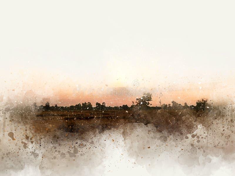 Beau paysage abstrait de champ sur le fond coloré de peinture d'aquarelle illustration stock