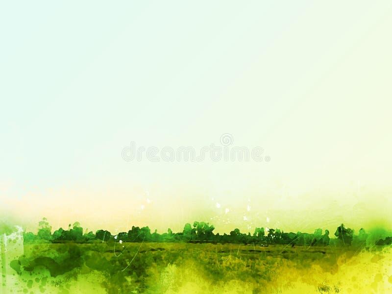 Beau paysage abstrait de champ sur le fond coloré de peinture d'aquarelle photographie stock libre de droits