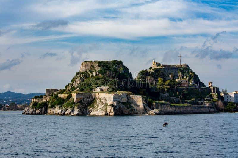 Beau paysage avec l'île de Kerkira, Grèce photographie stock libre de droits