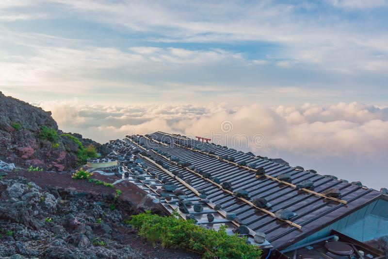 Beau paysage avec la vue de ciel nuageux ? partir du dessus du Mt Fuji, Japon photo libre de droits