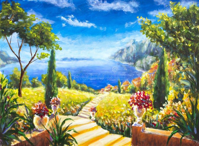 Beau paysage d'été de peinture faite main, route vers l'océan, vases avec les fleurs, grands arbres verts contre l'océan bleu, MO illustration stock