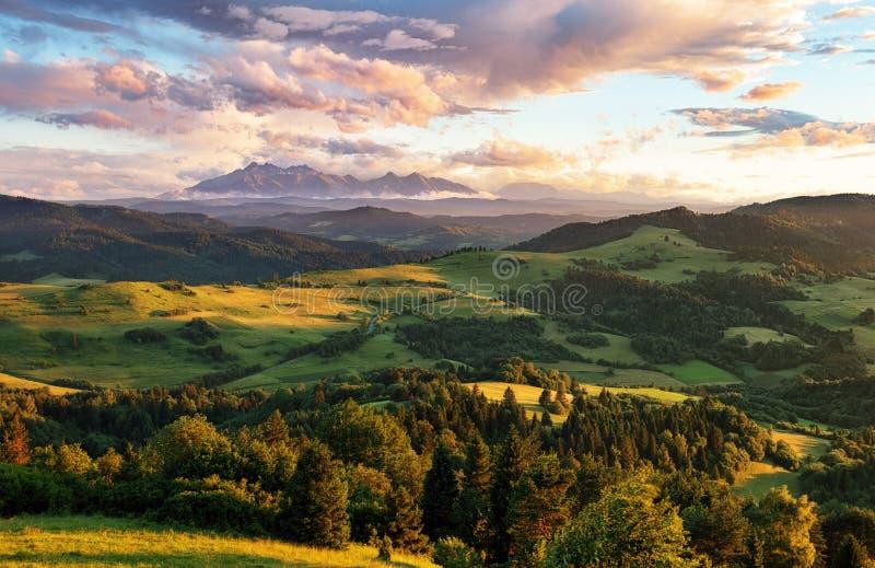 Beau paysage d'été en montagnes - Pieniny/Tatras, Slov image libre de droits