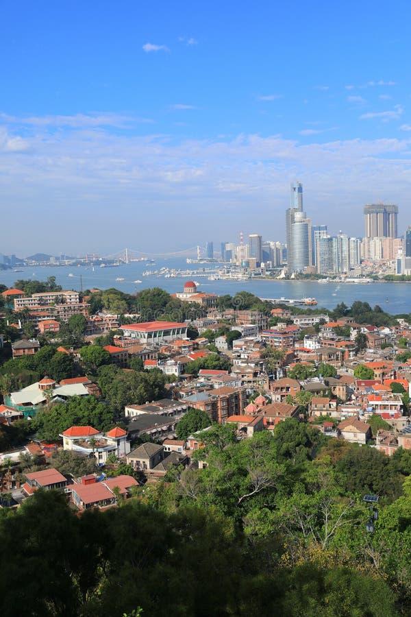 Beau paysage d'horizon de Xiamen de province de Fujian photos libres de droits