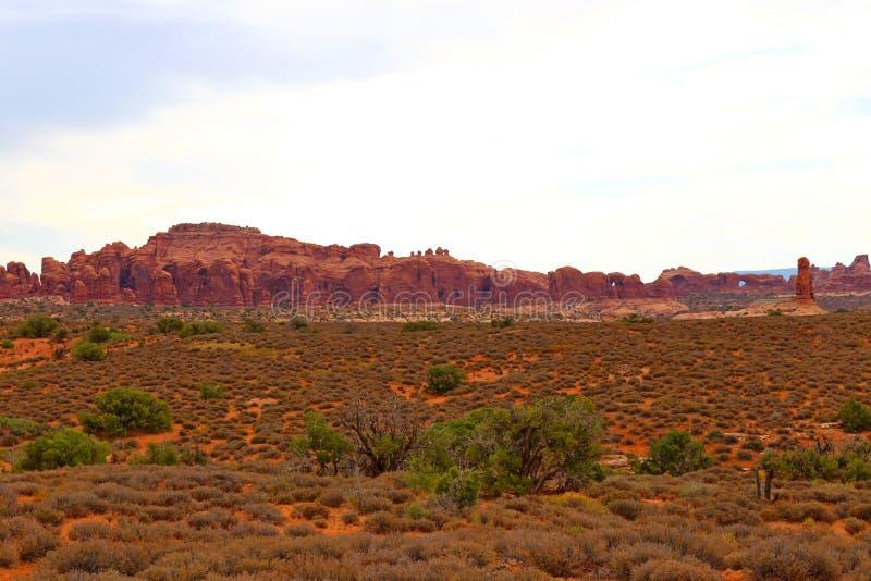 Beau paysage dans des couleurs naturelles au parc national de voûtes en Utah photographie stock libre de droits