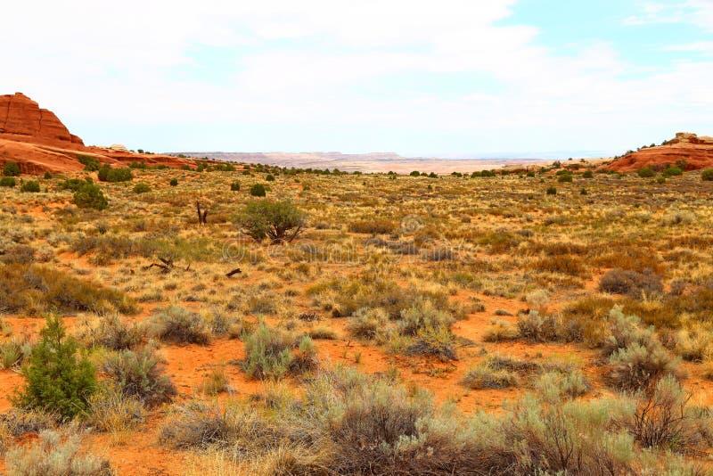 Beau paysage dans des couleurs naturelles au parc national de voûtes en Utah, photographie stock libre de droits