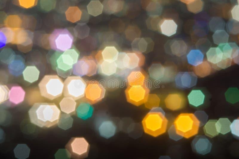 Beau paysage de Bokeh de ville la nuit photos stock