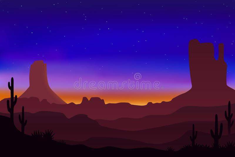 Beau paysage de désert avec le ciel coloré et le lever de soleil, illustration de vecteur illustration stock