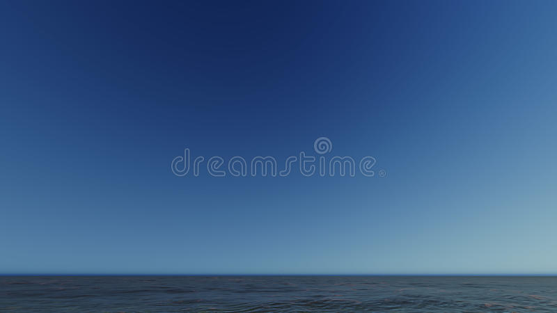 Beau paysage de flambage de coucher du soleil au rendu de la mer 3D photo stock