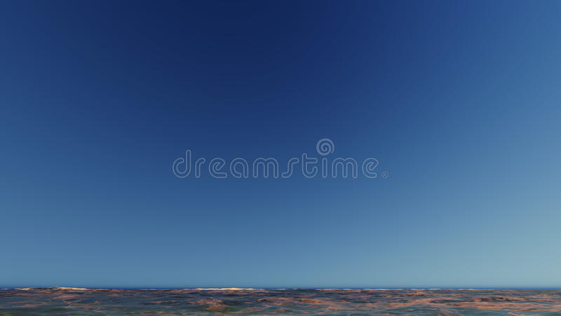 Beau paysage de flambage de coucher du soleil au rendu de la mer 3D images stock