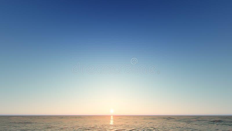 Beau paysage de flambage de coucher du soleil au rendu de la mer 3D illustration libre de droits