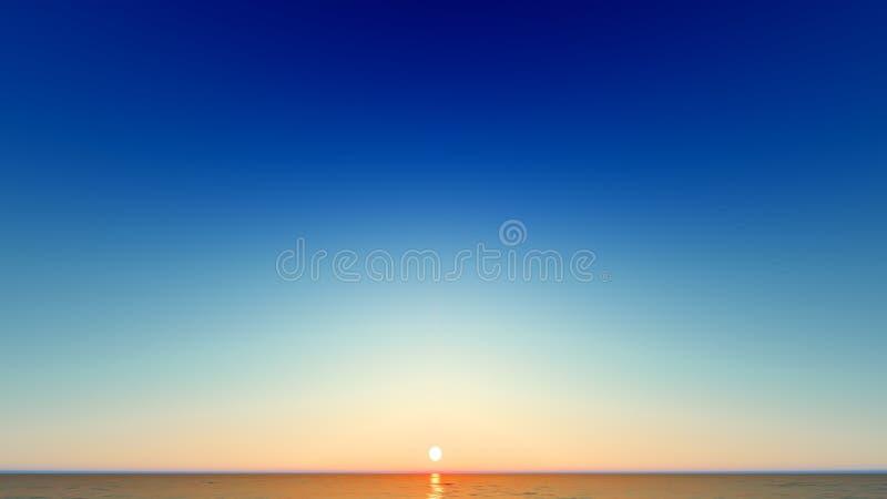 Beau paysage de flambage de coucher du soleil au rendu de la mer 3D illustration stock