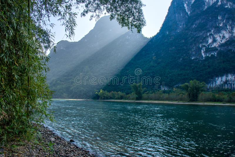 Beau paysage de fleuve de lijiang photographie stock