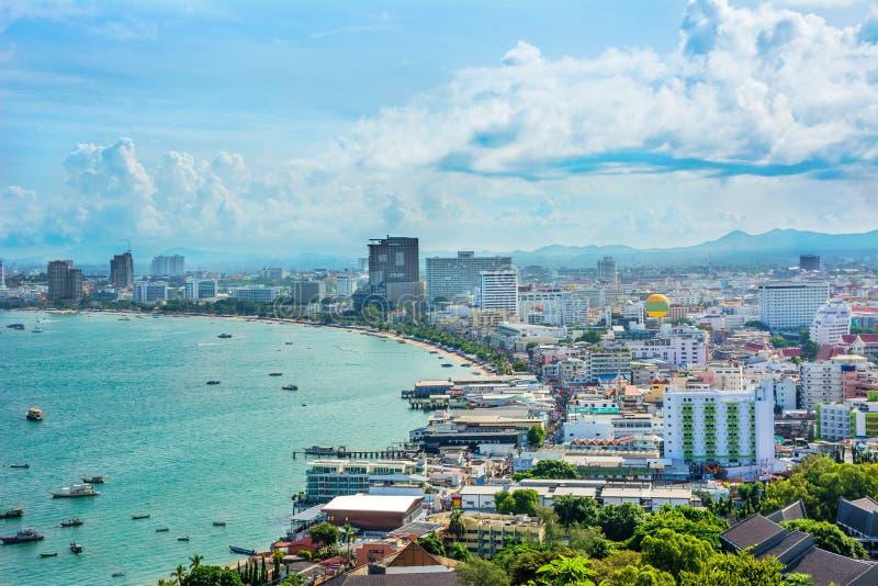 Beau paysage de golfe de Pattaya, Thaïlande image libre de droits