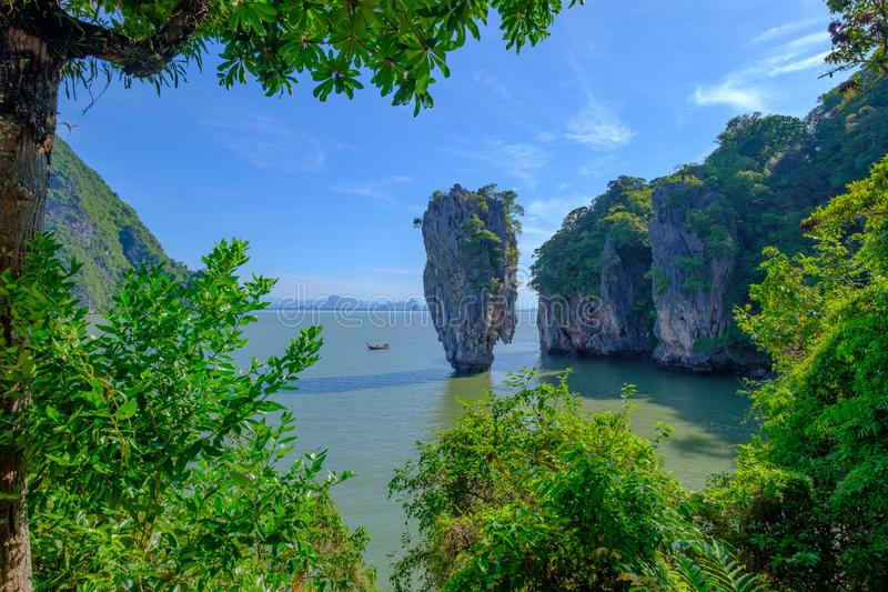 Beau paysage de James Bond Island-Koh Tapu, baie de Phang Nga, Thaïlande photo libre de droits