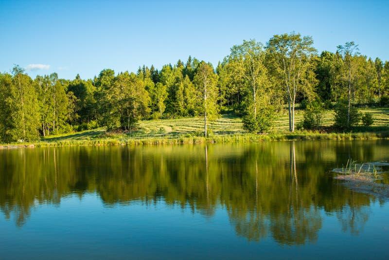 Beau paysage de lac en Suède photographie stock