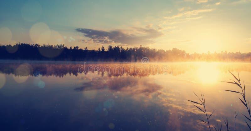 Beau paysage de matin sur une rivière avec la brume au-dessus de l'eau photo stock