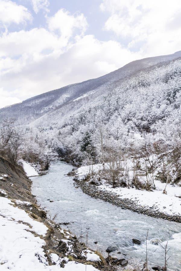 Beau paysage de montagne d'hiver avec la rivière de Bulgarie photographie stock libre de droits