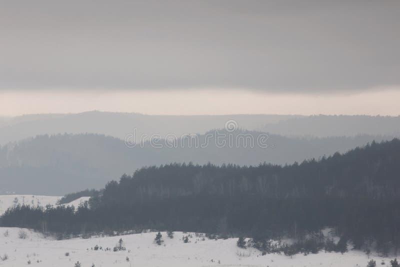 Beau paysage de nature d'hiver Montagnes posées de forêt photos libres de droits