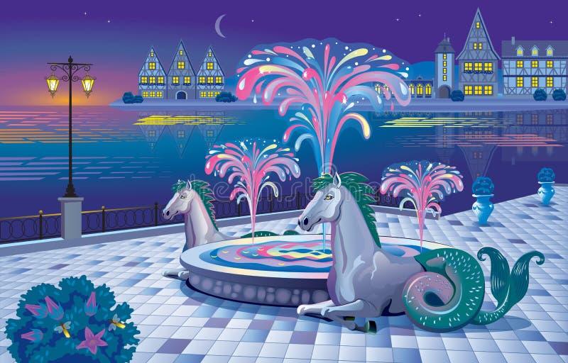 Beau paysage de nuit avec une fontaine lumineuse sur le waterf illustration de vecteur