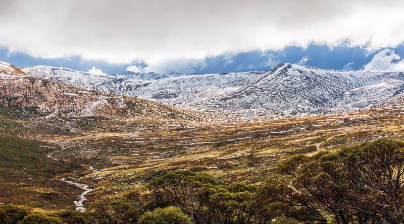 Beau paysage de panorama de parc national du mont Kosciuszko, images libres de droits