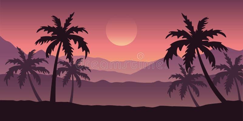Beau paysage de silhouette de palmier dans des couleurs pourpres illustration libre de droits