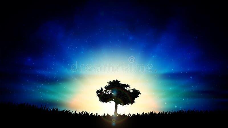 Beau paysage jaune de nature de silhouette d'arbre de solitude de coucher du soleil illustration libre de droits