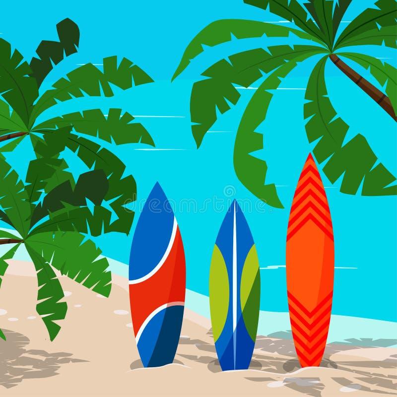 Beau paysage marin avec la planche de surf colorée - océan, palmiers, littoral de sable illustration de vecteur