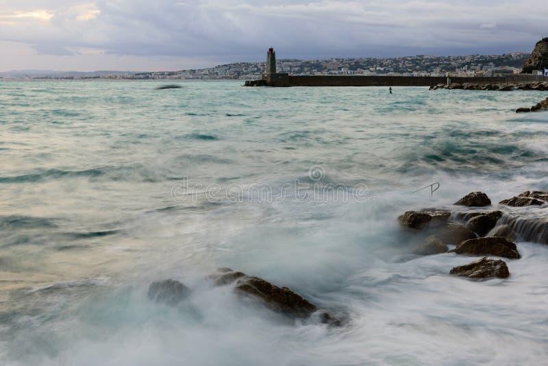 Beau paysage marin Temp?te en mer photo stock