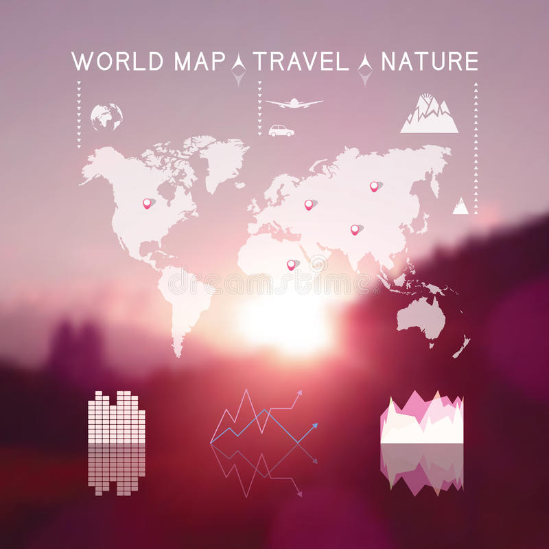 Beau paysage naturel brouillé avec l'ele de graphique d'infos de voyage illustration de vecteur