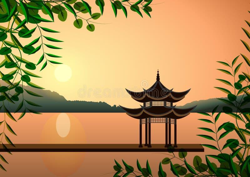Beau paysage oriental Pagoda au coucher du soleil sur le rivage illustration libre de droits