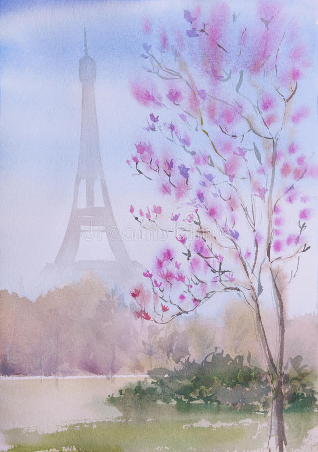 Beau paysage peint à la main de Paris d'aquarelle illustration libre de droits
