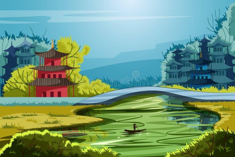 Beau paysage scénique de la Chine rurale illustration libre de droits