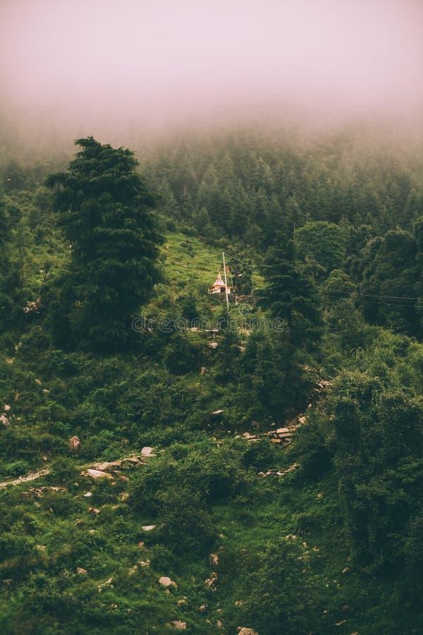 beau paysage scénique de montagne en brouillard, Himalaya indien, photographie stock