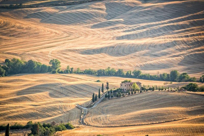 Beau paysage typique d'été de campagne en Toscane Italie images libres de droits