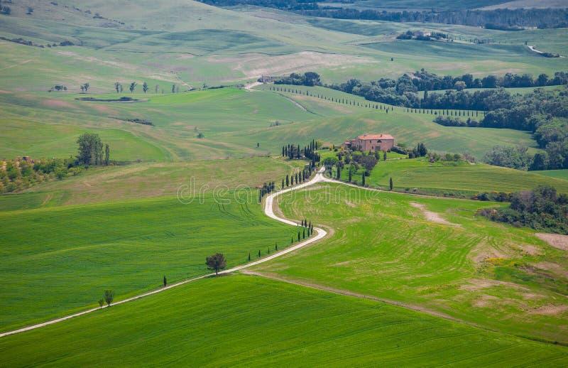 Beau paysage typique d'été de campagne, Toscane photos stock