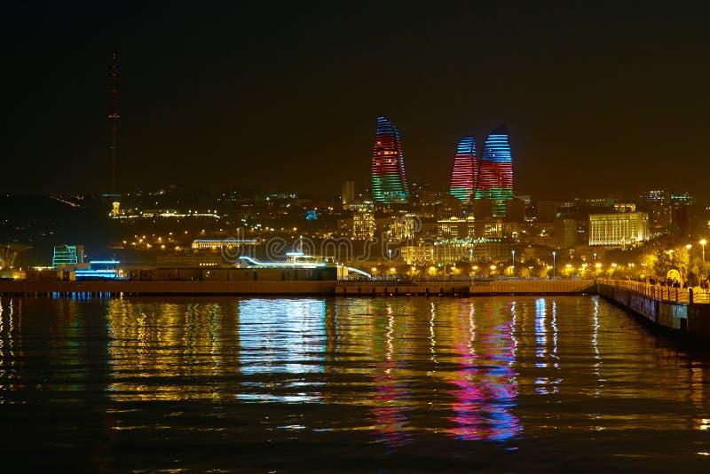 Beau paysage urbain de Bakou images stock