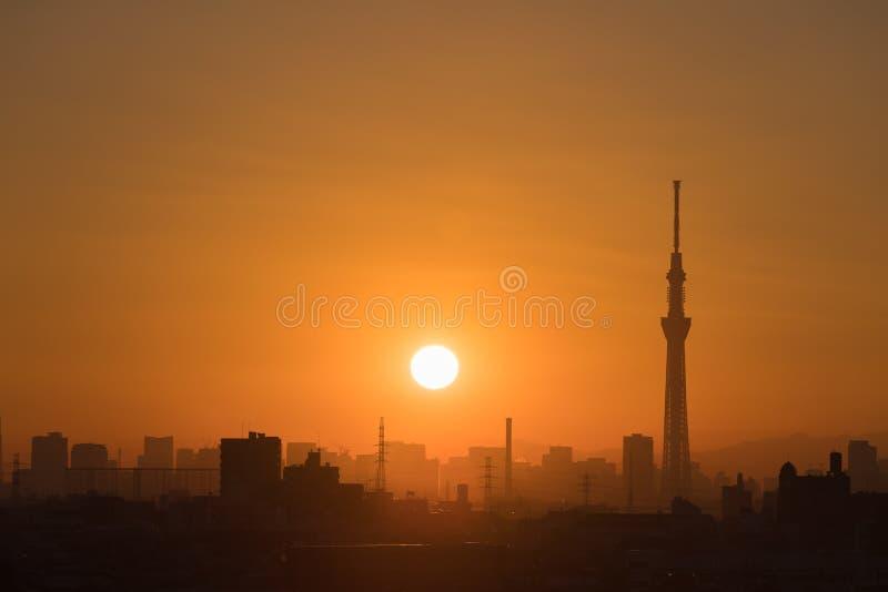 Beau paysage urbain de coucher du soleil de Tokyo images libres de droits