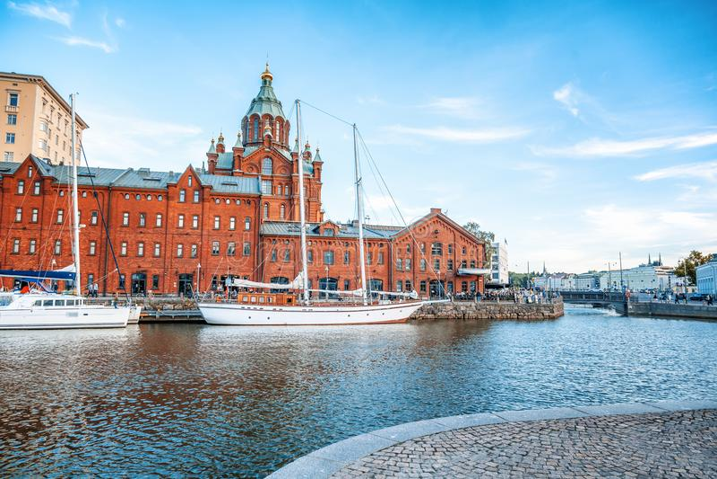 Beau paysage urbain, Helsinki, la capitale de la Finlande, vue de t image stock