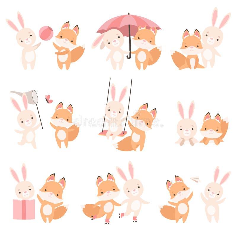 Beau petit lapin blanc et meilleurs amis ensemble réglés et mignons de Fox CUB jouant, lapin adorable et bande dessinée de chiot illustration libre de droits