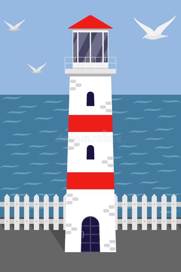 Beau phare blanc et rouge sur le bord de mer, mouettes, la terre, barrière blanche Illustration de vecteur dans le style plat illustration stock