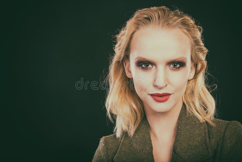 Beau plan rapproché femelle d'oeil, maquillage images stock