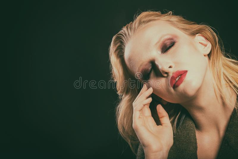 Beau plan rapproché femelle d'oeil, maquillage image libre de droits