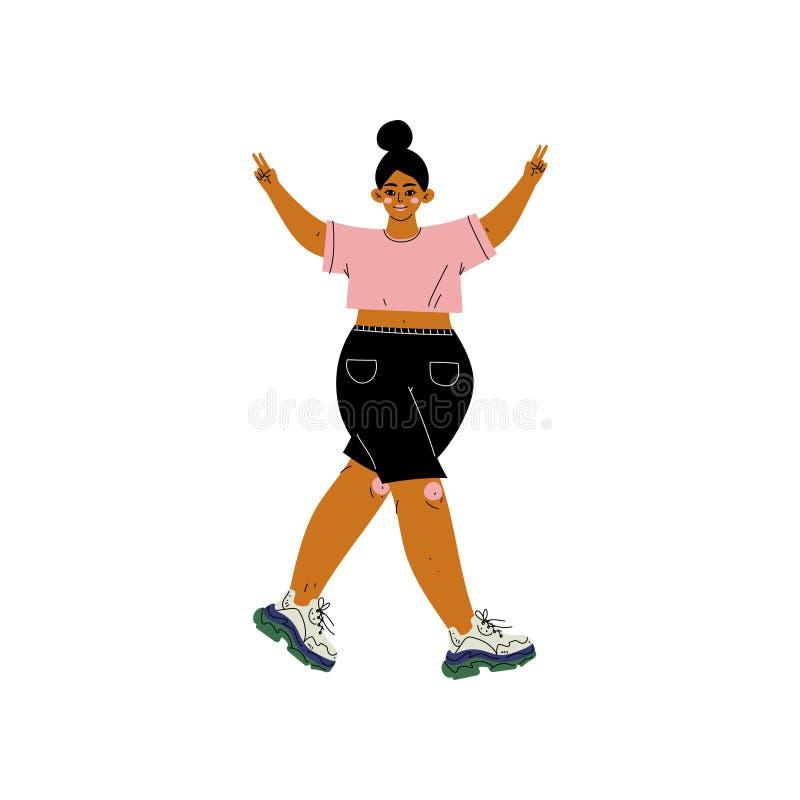 Beau plus la femme de taille dans des vêtements sport, personnage féminin d'Afro-américain aimant son corps, acceptation d'indivi illustration libre de droits
