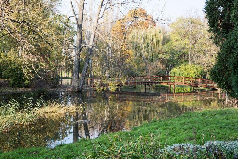 Beau pont en bois au-dessus d'étang reflété dans l'autum européen photographie stock libre de droits