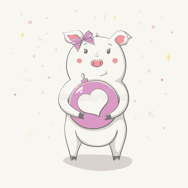 Beau porcin gai mignon avec la boule de hristmas de ¡ de Ð avec le coeur Grand Valentine Carte avec l'animal de bande dessinée illustration libre de droits